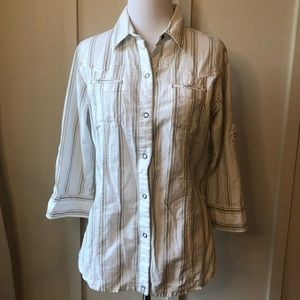 The North Face White Snap Button Down Shirt M